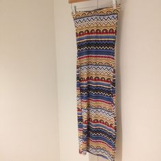 Long skirt 87% polyester 13% spandex. Please note that the size small is shown in the pictures. Skirts