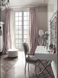 Blush curtains with Grey walls and wooden floor pattern. Glamor & elegance. Fabulous Vanity room.