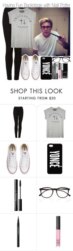 """""""Having Fun Backstage with Niall Potter"""" by elise-22 ❤ liked on Polyvore featuring Topshop, Converse, AT&T, Trish McEvoy, Illesteva, Smashbox, NARS Cosmetics and Chanel"""