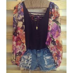 floral kimono cardigan with black tank and jean shorts