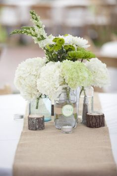 flowers and burlap table runner