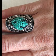 Turquoise silver ring Cute turquoise 3D cross stitch silver ring surrounded with small crystal beads . Jewelry Rings