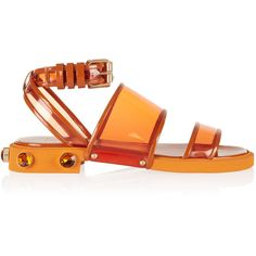 Givenchy Orange plastic and leather flat sandals (2.185 BRL) ❤ liked on Polyvore featuring shoes, sandals, flats, footwear, orange, flat, flat sandals, low heel ankle strap sandals, orange flat sandals and leather ankle strap sandals