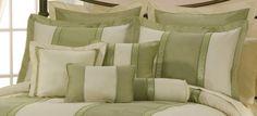 green comforters   Details about 7pcs Beige Sage Green Jacquard Floral Comforter Set Bed ...
