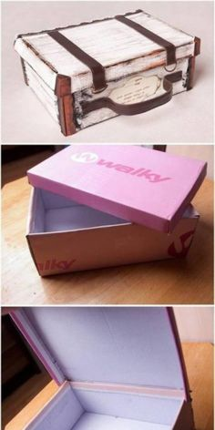 Look at the photo of Mandiix with the title box of the shoe box, . Diy Home Crafts, Diy Arts And Crafts, Paper Crafts, Sticker Organization, Diy Organisation, Harry Potter Suitcase, Matchbox Crafts, Diy Cardboard, Cardboard Suitcase