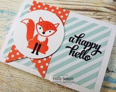 Foxy Friends stamp set NEW from Stampin' UP! June 2016 - happy hello swap card by Patty Bennett from pattystamps.com