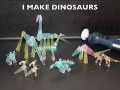 The many varieties of Eppendorfasaurus. Dinosaurs made from Eppendorf tubes... I want to be friends with this person
