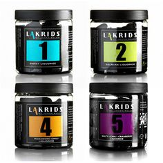 Lakrids by Johan Bülow LIQUORICE. Get it at http://liquorice.nu/collections/gift_boxes/products/liquorice NO.1 Sweet Liquorice NO.2 Salty Liquorice NO.4 Habanero Chili Liquorice NO.5 Salty Chili Cranberry