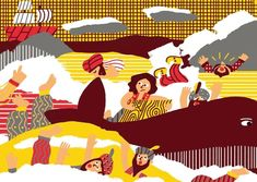 "Illustrations for ""Simbad el marino"" Publisher house: The elephant factory Design: @delameneo #cachetejack #illustration #drawings #book #theelephantfactory #book #simbad #hardcover #illustrations"
