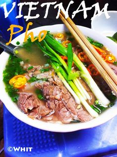 Vietnamese Pho, or beef noodle soup. Where to eat in #Vietnam: Street side and at pho stalls around the country. One of the most popular in Hanoi is Pho 49 on Bat Dan Street just west of the Old Quarter. #food #travel #foodtravel