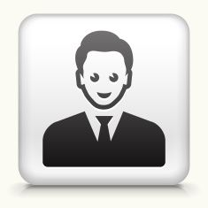 Square Button with man Face royalty free vector art vector art illustration