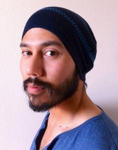Slouch Beanie  Mens beanie  Blue Stripe fashion by MissTopKnot, $20.00