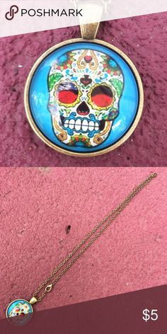 """Sugar Skull Necklace Pretty antique bronze necklace with glass cabochon pendant. Chain is 18"""". New in package. Jewelry Necklaces"""