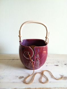 Yarn Bowl, Knitting bowl,  Raspberry, Purple, Cranberry, Handmade ceramic pottery. $40.00, via Etsy.