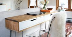 Really love this idea. Not sure about the slim part though… // Ikea Hack Slim Desk Really love this idea. Not sure about the slim part though… // Ikea Hack Slim Desk Ikea Alex Drawers, Ikea Desk, Diy Desk, Ikea Floating Desk, Ikea Table, Ikea Hacks, Desk Hacks, Hacks Diy, Eco Furniture