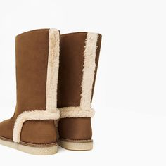 ZARA - KIDS - LINED LEATHER BOOTS WITH FAUX FUR DETAIL