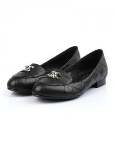 Chanel Flat Shoes Leather Black 2914