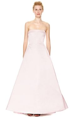 Pleated-Back Duchess Satin Strapless Gown by Rochas Now Available on Moda Operandi