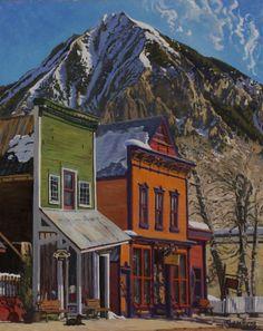 """Orange Facade, Bailey Dog"" by Shaun Horne, 30x24"", oil on canvas, pure plein air"