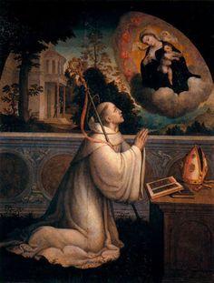 Saint Bernard's Vision of Our Lady. Bernard Of Clairvaux, Lives Of The Saints, National Art Museum, Pope Benedict Xvi, San Rafael, Mary And Jesus, Catholic Art, Roman Catholic, Look At The Stars