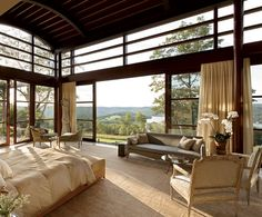 Tuscan inspired room with a view, designed by architect Steven F. Haas #master #bedroom #suite