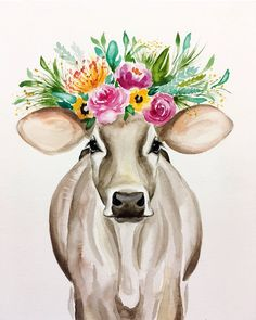Original watercolor print on card stock cow painting, cow a Cow Painting, Painting & Drawing, Painting Quotes, Art Inspo, Farmhouse Paintings, Arte Sketchbook, Cow Art, Animal Paintings, Watercolor Print