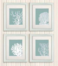 Set 4 C Prints Mist Blue Green Nautical Print Poster Art Wall Décor Hanging Beach House Bathroom