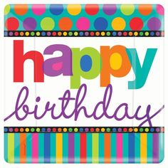 """Need a bright, bold way to honor a birthday? Happy Birthday Dots & Stripes Dinner Plates feature the """"Happy Birthday"""" message, with colorful dots and stripes. Colors include red, blue, orange, yellow,"""