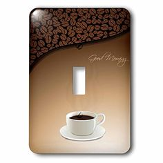 Anne Marie Baugh  Coffee  A Cup Of Coffee With a Coffee Bean Background and Good Morning  Light Switch Covers  single toggle switch lsp_235763_1 ** Click image to review more details. (This is an Amazon Affiliate link and I receive a commission for the sales)