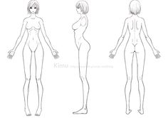 Human's body practice - female by kimuliao Character Model Sheet, Female Character Design, Character Modeling, Character Reference Sheet, Figure Drawing Reference, Drawing Female Body, Character Template, Croquis Fashion, Body Sketches