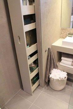 Modern Bathroom Design Ideas with Amazing Storage - Versteckte Räume Tiny House Bathroom, Small Bathroom, Bathroom Mirrors, Bathroom Ideas, Bathroom Marble, Ensuite Bathrooms, Bathroom Faucets, Hidden Storage, Storage Shelves
