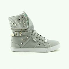 Pastry Sugar Rush Athletic Shoe in GreyAqua High Tops For Girls, Swag Style, My Style, Boots With Leg Warmers, Hip Hop Sneakers, Hipster Looks, Grey Shoes, Women's Shoes, Thing 1