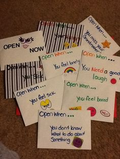 "I made these ""Open When Cards"" for my daughter, who is in college."