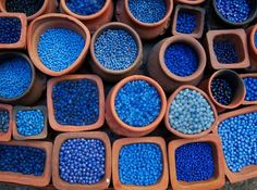 Blue beads in terra cotta pots. Blue beads in terra cotta pots. Im Blue, Deep Blue, Blue And White, Light Blue, Azul Indigo, Bleu Indigo, Bleu Turquoise, Cobalt Blue, Cerulean