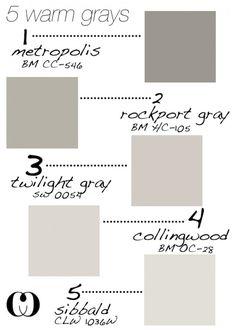 5 Warm Grays - BM Metropolis, BM Rockport Gray, SW Twilight Gray, BM Collingwood