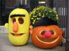 Bert & Ernie pumpkins. Epic. #Favorite #halloween #Recipes #Snacks #Spooky #Scary #Gross #Treat