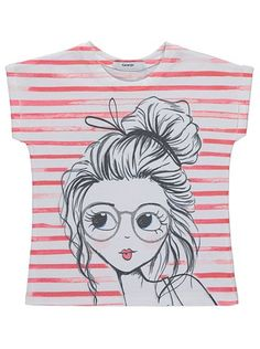 Illustrated Girl Character T-shirt, read reviews and buy online at George at ASDA. Shop from our latest range in Kids. With stripes, glitter detailing and a ...