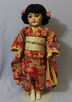 """16"""" Antique Rare JAPANESE SIMON & HALBIG #1129 Doll Extreme Slant Eyes,Beautiful"""