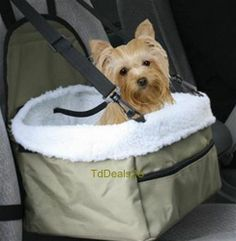 Pet Booster Car Seat Sheepskin Faux Lining Dog Cat Leash Carrier Travel Tote Saf