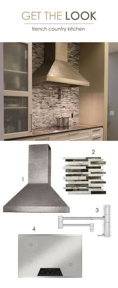 French Country Kitchen: 1. Native Trails Hammered Copper Range Hood // 2. TileBar Matchstix Rainstorm Glass Tile // 3. Waterstone Contemporary Pot Filler // 4. Thermador Electric Cooktop