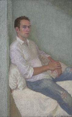 Ellen Eagle, Anastasio with Pillow, pastel on pumice board, 18 x 11 inches