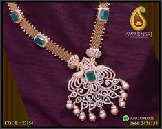 Necklaces Photography Necklace with a detachable twin Peacocks floral pendant embellished with SWAROVSKI® ZIRCONIA, Emeralds and Pearls. Now Available @ SwarnSri Gold Diamond Earrings Indian, Diamond Necklace Set, Diamond Pendant, Diamond Jewellery, Pendant Set, Gold Necklace, Short Necklace, Jewellery Box, Gold Jewelry Simple