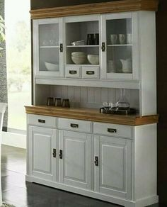 Solid wood buffet cabinet pine white honey dining room showcase kitchen country house in furniture & living, furnitu. Kitchen Buffet Cabinet, Wood Buffet, Kitchen Dresser, Kitchen Furniture, Kitchen Cabinets, Buffet Hutch, Furniture Ads, Furniture Storage, Cupboards