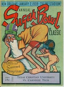 1939 Sugar Bowl official progam. TCU beat Carnegie Tech 15-7 to clinch a national championship for the #HornedFrogs.
