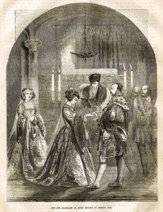 "Cassell's History - ""PRIVATE MARRIAGE OF ANNE BOLEYN TO HENRY VIII"" - Engraving - 1858"