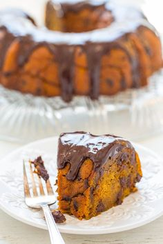 Pumpkin Chocolate Chip Bundt Cake – Fast, EASY, and the moistest pumpkin cake you'll ever taste!! Loaded with chocolate chips in every bite and topped with a heavenly chocolate ganache! Sinfully rich and decadent!! This cake is giving me flashbacks because I made a pumpkin chocolate chip Bundt cakeback in 2012. I loved that cake …