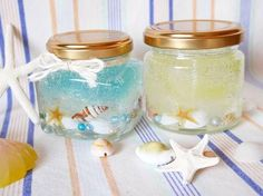 Summer craft idea for kids Gel Candles, Bath Candles, Wooden Crafts, Diy And Crafts, Crafts For Kids, Mason Jar Wine Glass, Shell Crafts, Summer Crafts, Candle Making