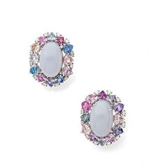 A PAIR OF CALCEDONIA, SAPPHIRE, DIAMOND AND 18K WHITE GOLD EAR CLIPS, BY MARGUERITA BURGENER