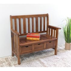 Features:  -Great for indoor and outdoor use.  -Corbin collection.  -Attractive bench is made of solid acacia hardwood.  -Relax in style with this 3-drawer acacia.  Bench Type: -Entryway bench.  Seat