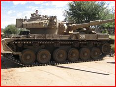 SADF Olifant blocks the road..